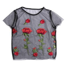 Beli Wanita Fashion Tops Rose Bunga Bordir Bersih Bentuk Lengan Pendek T Shirt S Intl Pake Kartu Kredit