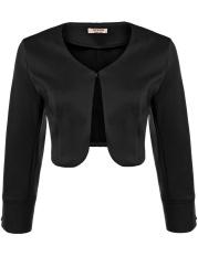 Katalog Wanita Fashion Solid Lengan Panjang Terbuka Depan Bolero Shrug Top Hitam Intl Not Specified Terbaru