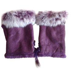 Jual Wanita Faux Rabbit Fur Hand Wrist Warmer Setengah Jari Sarung Tangan Musim Dingin Glove Intl Branded