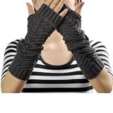 Diskon Produk Perempuan Sarung Rajutan Sarung Tangan Arm Warmer Winter Sarung Tangan Abu Abu Gelap Intl