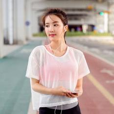 Produk Sepatu Olahraga Wanita Mesh Transparan Hollow Out Kemeja Pendek Berlengan Menjalankan T-shirt Yoga Pakaian Putih-Intl