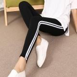 Harga Wanita Kebugaran Olahraga Legging Wanita Latihan Legging Musim Panas Sporter Elastis Pinggang Striped Patchwork Legging Pants Black Intl Asli