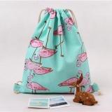 Beli Women Flamingos Drawstring Beam Port Backpack Tas Belanja Tas Travel Internasional Di Tiongkok