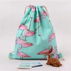 Harga Women Flamingos Drawstring Beam Port Backpack Tas Belanja Tas Travel Internasional Tiongkok