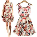 Jual Women Floral Big Flower Printed Chiffon Blouses Dress Lady Casual Vest Uneck Summer Boho Beige S Intl Antik
