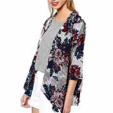 Harga Wanita Floral Longgar Kain Sutera Tipis Kimono Mantel Baru