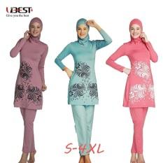 Wanita Bunga Cetak Penuh Sarung Muslim Timur Tengah Baju Renang Pantai Baju Panjang Jilbab Celana Baju Renang Berenang Pakaian S-4XL -Internasional