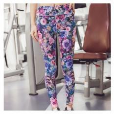 Harga Wanita Motif Bunga Celana Yoga Kebugaran Olahraga Lari Legging Ikat Tinggi Peregangan Spandeks Ketat Celana Latihan Olahraga Baru