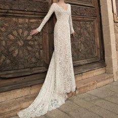 Wanita Pernikahan Bridesmaid Panjang Malam Partai Bola Prom Gaun Formal Ekor Gaun-Intl