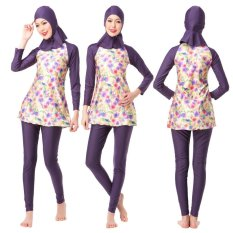 Wanita Penuh Cover Muslim Swimwear Lslamic Swimsuits Long Sederhana Ladies Beach Wear dengan Celana Jilbab-Intl