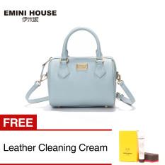 Spesifikasi Wanita Kulit Asli Boston Bag Tas Tas Bahu Wanita Biru Buy 1 Get 1 Freebie Emini House Terbaru