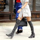 Harga Wanita Kulit Asli Stretch Slim Paha Tinggi Boots S*xy Fashion Di Atas Sepatu Lutut Tinggi Wanita Bertumit Sepatu Abu Abu Intl New