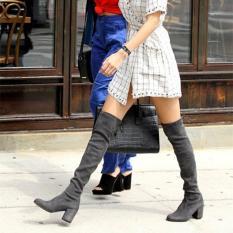 Toko Wanita Kulit Asli Stretch Slim Paha Tinggi Boots S*xy Fashion Di Atas Sepatu Lutut Tinggi Wanita Bertumit Sepatu Abu Abu Intl Oem Online