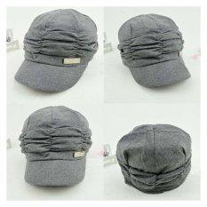 Harga Wanita G*rl Fashion Design Drape Lapisan Beanie Rib Hat Brim Visor Cap Grey Yg Bagus