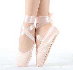Wanita Gadis Senam Balet Sepatu Satin Perancah Dance Sepatu Kanvas Hard Bawah Acupresses Latihan Sepatu-Pink
