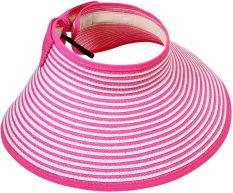 Wanita Girl Lady Beach Sun Visor Bertepi Lebar Lipat Topi Jerami Beach Travel Cap Hat (Rose White)