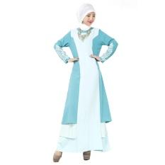 Wanita Wanita Melayu Islam Gaun Rok Arab Jubah Jumpsuit Lengan Panjang Borgol Renda Linen Danau Biru-Intl