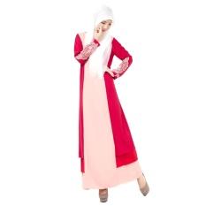 Wanita Wanita Melayu Islam Gaun Rok Arab Jubah Jumpsuit Lengan Panjang Borgol Renda Linen Naik Merah-Internasional