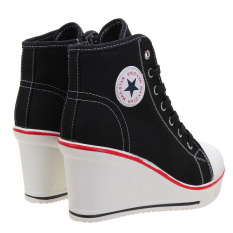 Dapatkan Segera Sepatu Anak Wanita Sepatu Hak Tinggi Atas Baji Renda Sepatu Kanvas 8 Cm H International