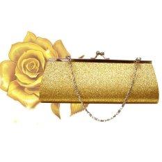 Wanita Glitter Clutch Dompet Pesta Malam Pernikahan Tas Perjamuan Tas Bahu-Emas