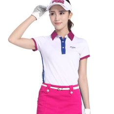 Wanita Golf Shirt Dry FIT Bernapas Softextile Golf Polo Shirt Jaket Pendek Fesyen Musim Panas Lengan Tshirt Fitness Casual Olahraga- INTL