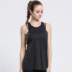 Wanita Gym Olahraga T Shirt Latihan Yoga Rompi Kebugaran Latihan Latihan Menjalankan Pakaian Olahraga Tee Tank Top Singlet Pakaian (hitam) -Intl