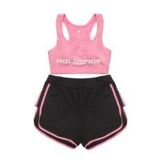 Toko Wanita Gym Pakaian Yoga Dua Piece Bra With Short Suit Fitness Workout Pakaian Suit Female Sport Yoga Wear 2 Terlengkap Di Tiongkok