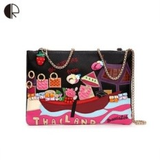 Women Handmade Vintage Handbags Thailand Style Appliques Personalized Portable Crossbody Bags Preppy Style Messenger Bags BS688 - intl