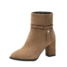 Jual Wanita Hak Tinggi Sepatu Bot Pendek Plush Menunjuk Toe Boot Ankle Boots Heels Kh 35 Intl Lengkap