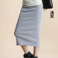 Beli Wanita Tinggi Pinggang Elastis Sisi Celah Solid Kasual Pensil Midi Rok Intl Murah Di Tiongkok