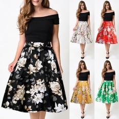 Harga Wanita Tinggi Pinggang Vintage Peach Blossom Floral Print Gaun Bola Pleated Midi Rok Kuning Perempuan Ukuran M Intl Baru