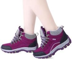 Wanita Hiking Olahraga Sepatu Kasual Outdoor Blok Warna LACE UP (Ungu)-Intl