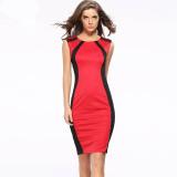 Promo Toko Wanita Hit Warna Seksi Gaun Tanpa Lengan Zipper Bag Hip Perban Dress Skinny Clubnight Gaun 2016 Baru Kedatangan Fashion Gaun Merah
