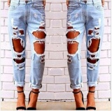 Spesifikasi Women Hole Destroyed Ripped Distressed Slim Denim Pants Boyfriend Jeans Trousers Intl Yang Bagus Dan Murah