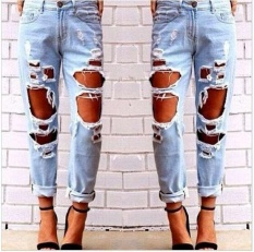 Women Hole Destroyed Ripped Distressed Slim Denim Pants Boyfriend Jeans Trousers Intl Terbaru