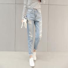 Jual Lubang Wanita Ripped Cropped Jeans Pensil Pinggang Tinggi Celana Denim Biru Muda Intl Branded Murah