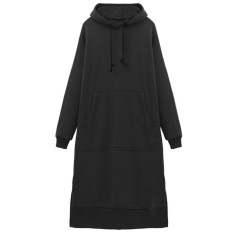 Wanita Berkerudung Panjang Hoodies Tops Longgar Kain Wol Bergaris Gaun Santai Plus Panjang
