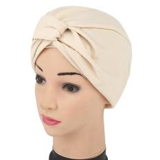 Wanita India Gilding Stretch Sorban Hat Kemo Cap Rambut Rontok Kepala Syal Bungkus-Internasional