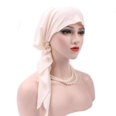 Wanita India Muslim Stretch Sorban Topi Kapas Rambut Rontok Kepala Syal Bungkus Putih-Intl