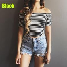 Harga Women Knit Crop Top Off Shoulder Cotton Striped Tank Top Black Intl Terbaik