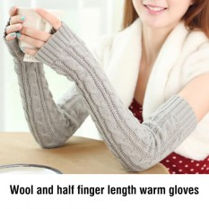 Wanita Rajutan Akrilik Panjang Tanpa Jari Thumbhole Hangat Musim Gugur Musim Dingin Lengan Sarung Tangan (Abu-abu Terang)-Internasional