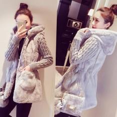 Harga Wanita Korea Rajutan Jahitan Musim Dingin Tebal Hooded Sweater Mantel Wanita Jaket Intl Tiongkok