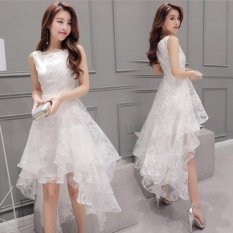 Wanita Korea Organza Little Putih Mermaid Pernikahan Bridesmaid Pesta Gaun-Intl