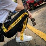 Venflon Gaun Korea Sport Street Applique Letter Cetak Patch Elastis Celana Panjang Jogger Sweatpants Hitam Venflon Murah Di Tiongkok
