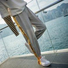 Venflon Gaun Korea Sport Street Applique Letter Cetak Patch Elastis Celana Panjang Jogger Olahraga Grey Diskon Akhir Tahun