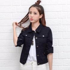 Wanita Gaya Korea Fashion Denim Jaket Lady Panjang Fit Ramping Lengan Pendek  Jeans Jaket Wanita Denim fd2f4ce0b3