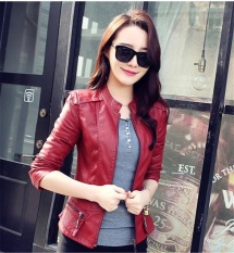 Wanita Gaya Korea Slim Fit Pu Leather Coat Jaket Perempuan Wanita Gadis Mandarin Collar Leather Mantel Gugur Intl Oem Murah Di Tiongkok