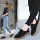 Review Women Lace Up Casual Brogue Shoes Pu Leather Women Flat Shoes For Lady Women Oxford Leisure Women Shoes Black Intl Tebu