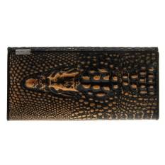 Wanita Ladies Luxury Asli Kulit Tas Bifold Panjang Dompet Dompet Buaya Print Bronze Warna-Intl