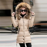 Jual Wanita Wanita Langsing Hooded Down Empuk Long Musim Dingin Hangat Parka Outwear Jacket Coat Original